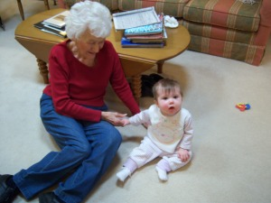 Baby Jordyn on her first trip to visit Granny nanny.