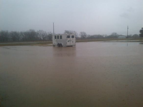 A trailer standing in water is difficult for a horse to load into, even with four good feet.