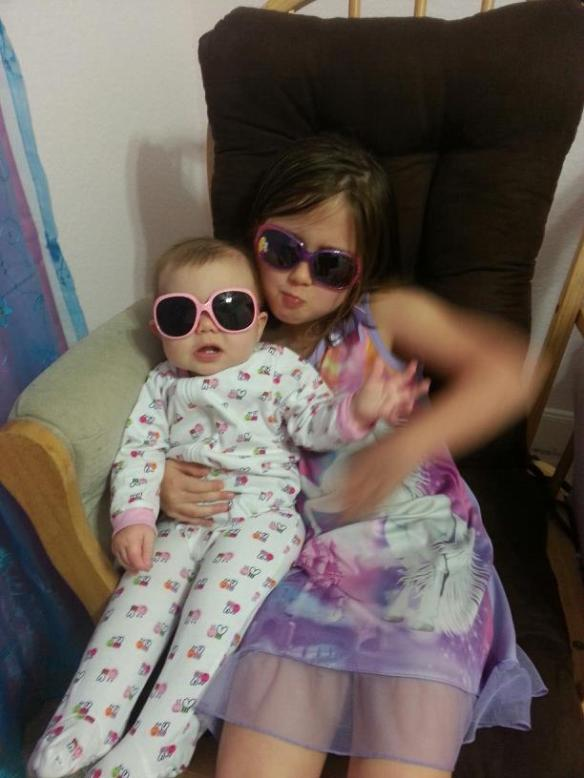 Kendyll and Jordyn ready for the Texas summer although it is February. It comes early around here.