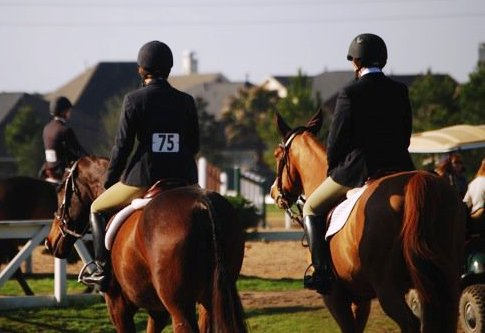 Lauren on the left, Cate on the right- sharing their favorite thing-a day at a horse show!