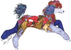 From the artist Amber Brooks comes a symbol of the loves of my life-animal anyway-with the Poodle and the thoroughbred.