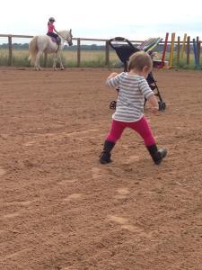 Jordyn focused on her riding and Kendyll focused on her walking!