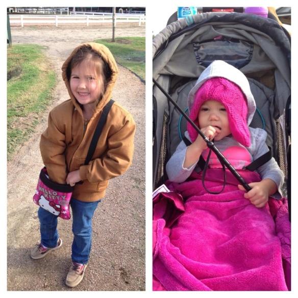 Jo and Ken bundled up to cheer on aunt Lauren.  Who gave Kendyll the crop?