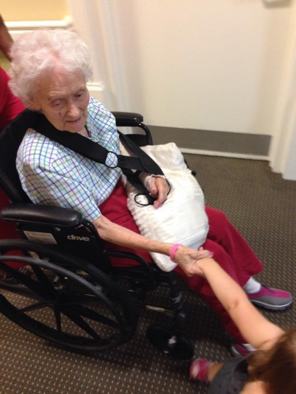 Baby Kendyll is holding her granny nanny's hand as we take her for a stroll today.