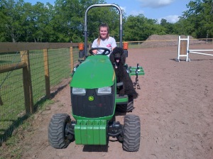 Of course, Kona had to get on the tractor, too.