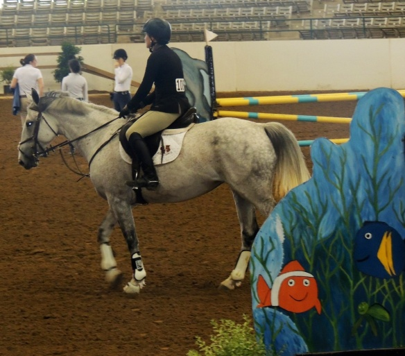 Feather entered the arena with its fish jumps, spectators and riders and calmly waited for the start bell.