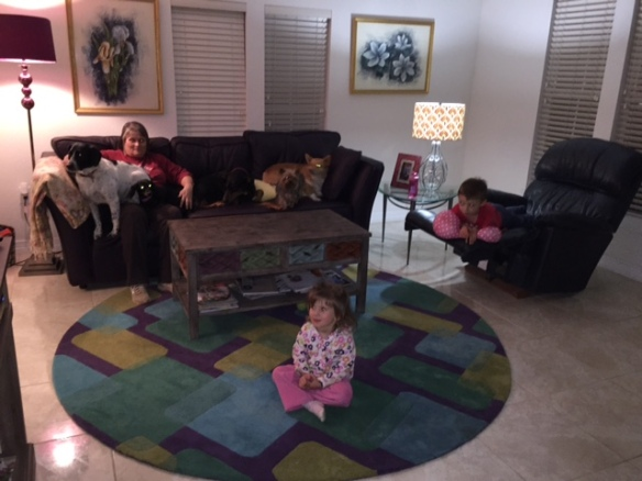Amber told her kids that at Granny's they sit on the floor and the dogs sit on the couch.