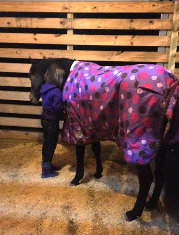 Jordyn meeting her pony for the first time! Note-it is still pitch black behind the stall slats.