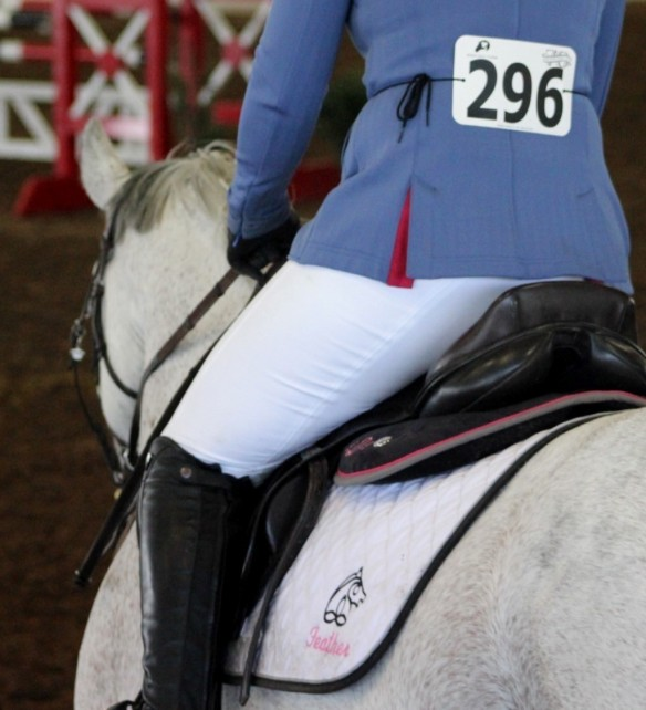 Lauren in her show whites with her number and Irish Sport Horse emblem pad with Feather's name.