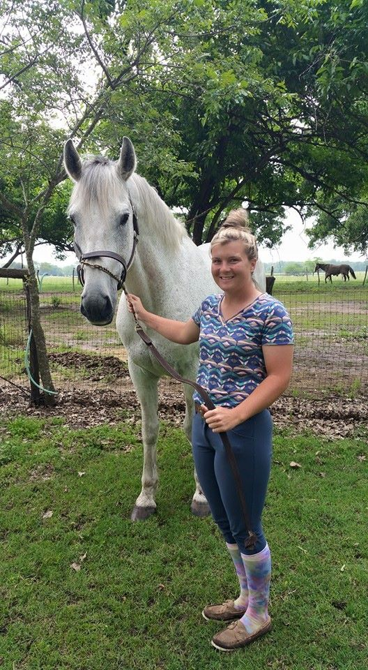 Lauren with Flagmount's Freedom, at over 17 hands he makes wonderful, kind, jumpers.