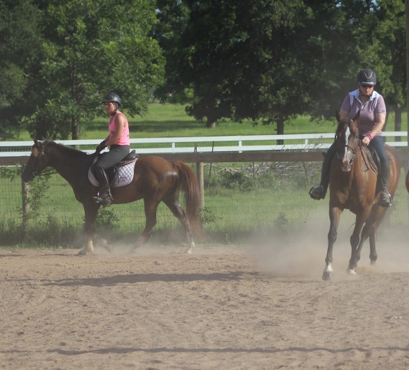 Lauren and I taking a lesson together-first time ever.  She is on Owen.