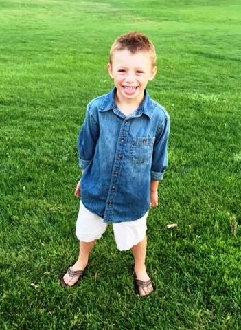 Handsome Riley meeting his first grade teacher in Denver.