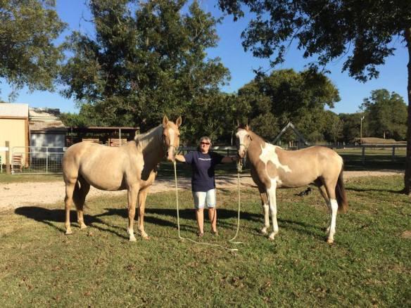 Pregnant mama Fargo, me and tall Betty Sue.